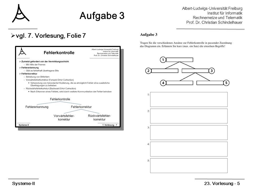 Albert-Ludwigs-Universität Freiburg Institut für Informatik Rechnernetze und Telematik Prof. Dr. Christian Schindelhauer Systeme-II23. Vorlesung - 5 A