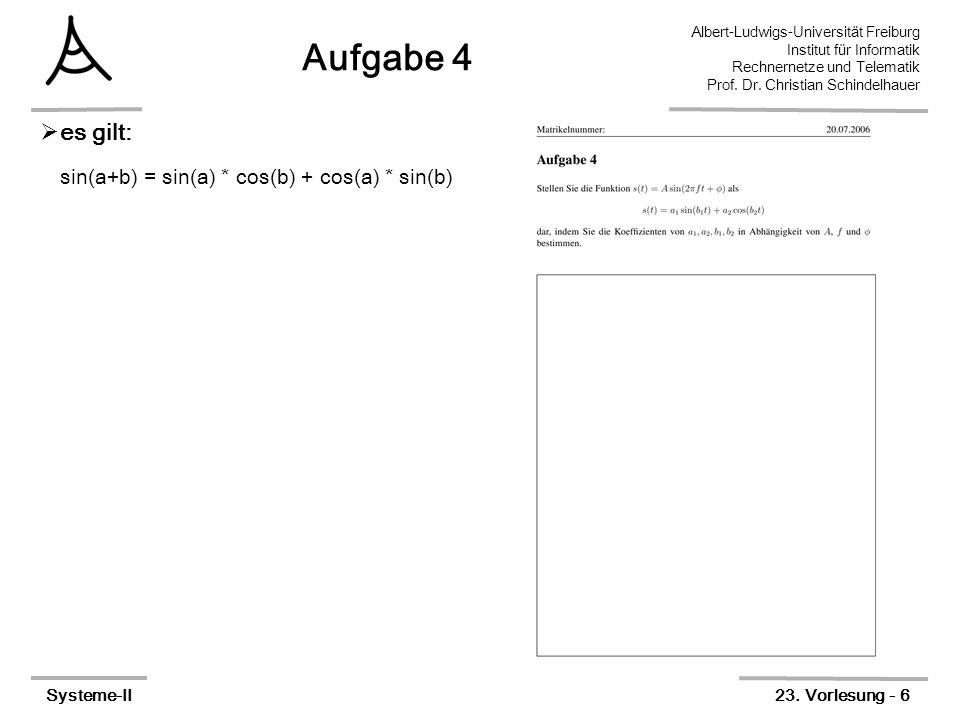 Albert-Ludwigs-Universität Freiburg Institut für Informatik Rechnernetze und Telematik Prof. Dr. Christian Schindelhauer Systeme-II23. Vorlesung - 6 A