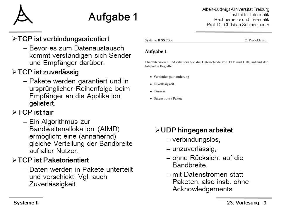 Albert-Ludwigs-Universität Freiburg Institut für Informatik Rechnernetze und Telematik Prof. Dr. Christian Schindelhauer Systeme-II23. Vorlesung - 9 A