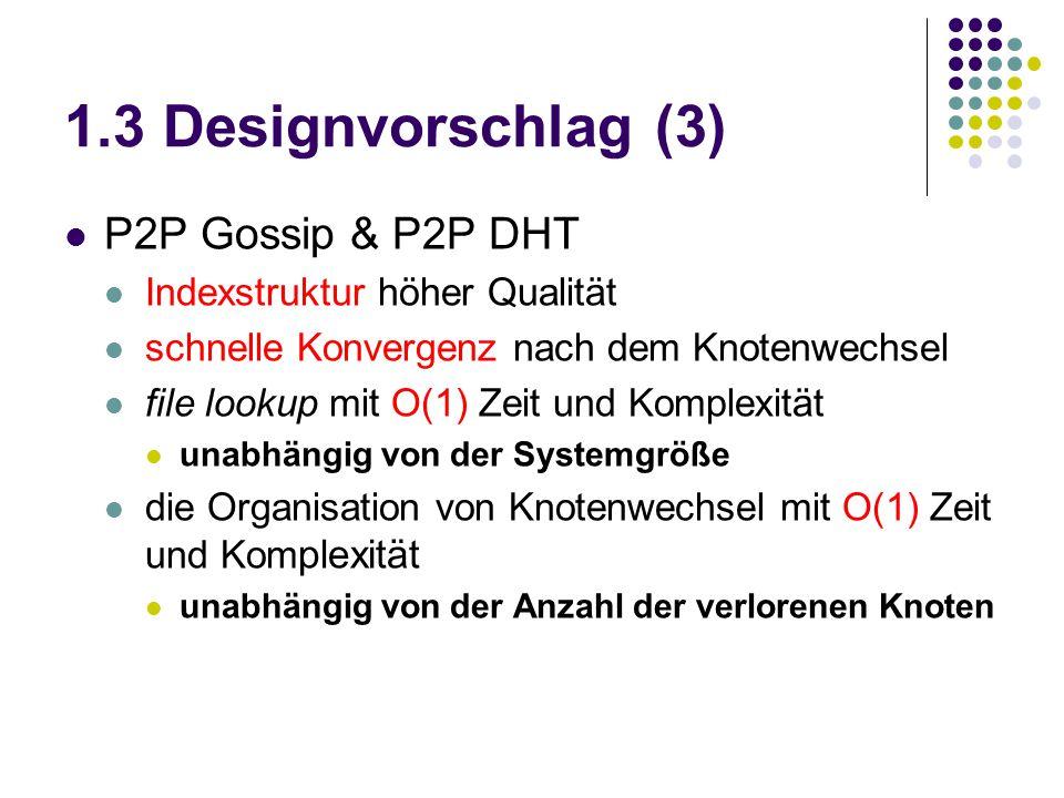 1.3 Designvorschlag (3) P2P Gossip & P2P DHT Indexstruktur höher Qualität schnelle Konvergenz nach dem Knotenwechsel file lookup mit O(1) Zeit und Kom