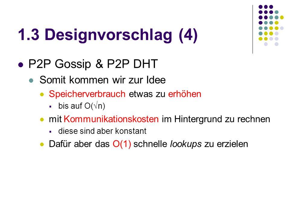 1.3 Designvorschlag (4) P2P Gossip & P2P DHT Somit kommen wir zur Idee Speicherverbrauch etwas zu erhöhen  bis auf O(√n) mit Kommunikationskosten im Hintergrund zu rechnen  diese sind aber konstant Dafür aber das O(1) schnelle lookups zu erzielen