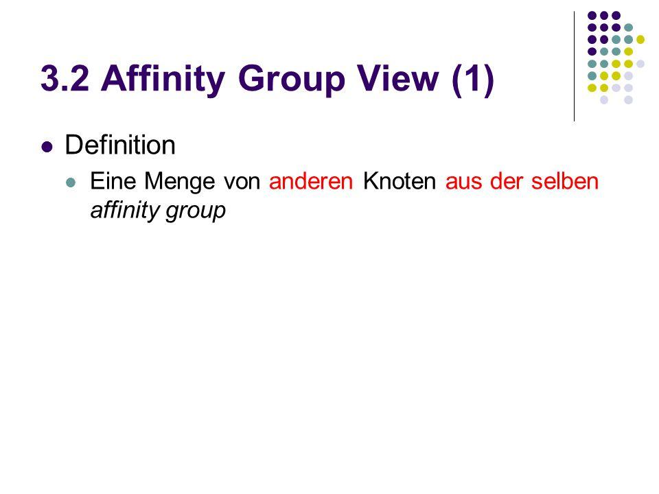 3.2 Affinity Group View (1) Definition Eine Menge von anderen Knoten aus der selben affinity group
