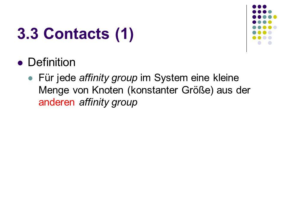 3.3 Contacts (1) Definition Für jede affinity group im System eine kleine Menge von Knoten (konstanter Größe) aus der anderen affinity group