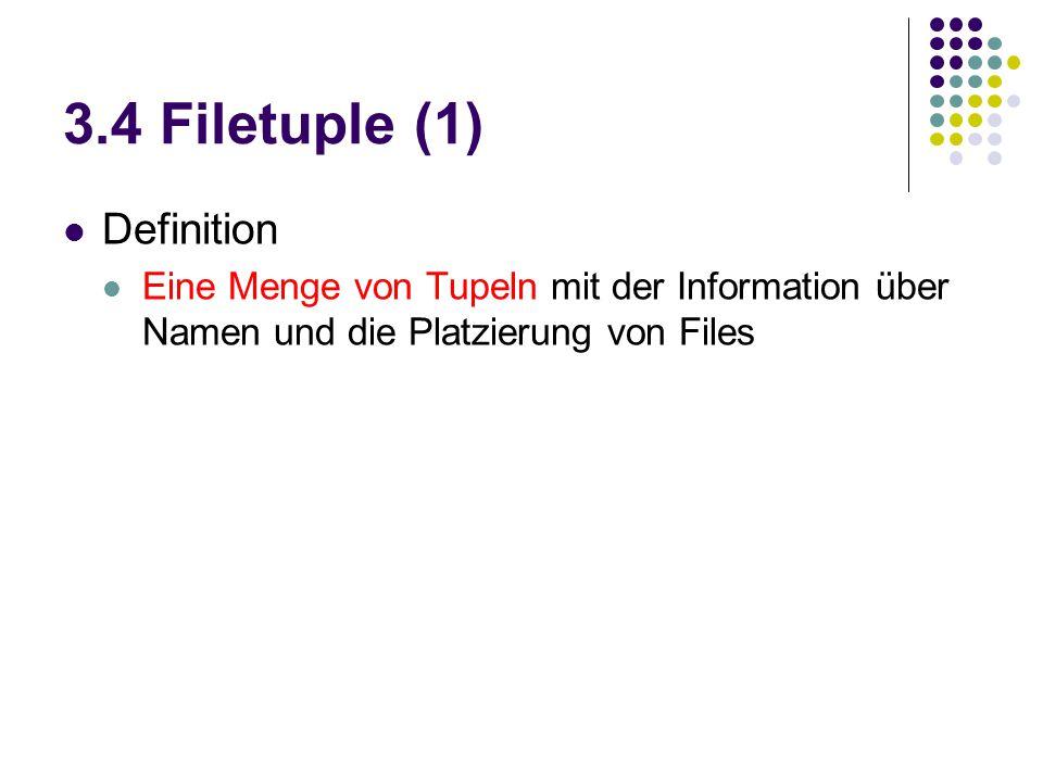 3.4 Filetuple (1) Definition Eine Menge von Tupeln mit der Information über Namen und die Platzierung von Files