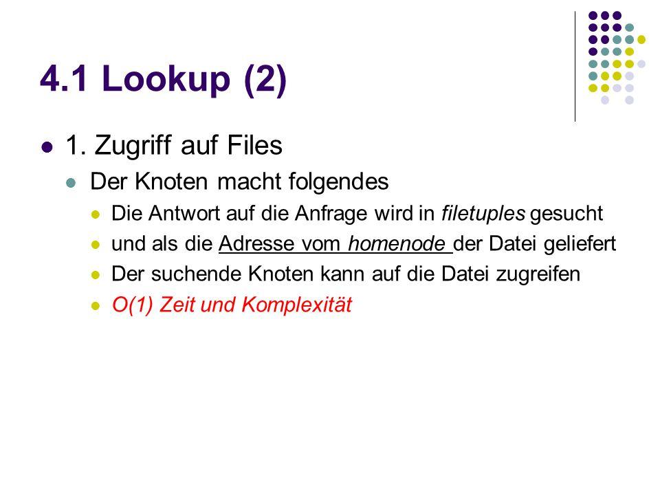4.1 Lookup (2) 1. Zugriff auf Files Der Knoten macht folgendes Die Antwort auf die Anfrage wird in filetuples gesucht und als die Adresse vom homenode