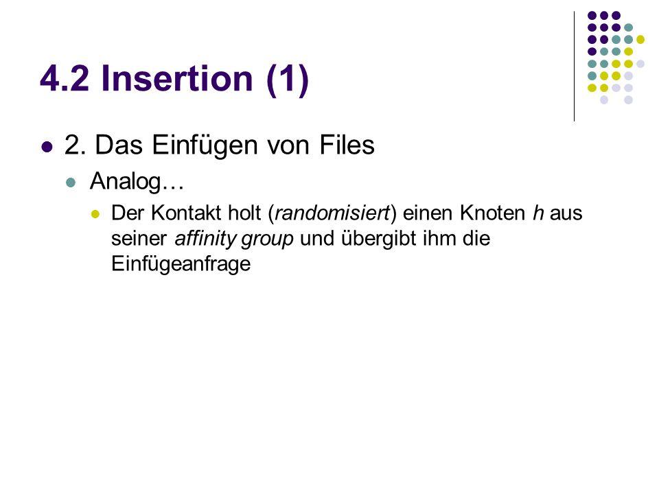 4.2 Insertion (1) 2. Das Einfügen von Files Analog… Der Kontakt holt (randomisiert) einen Knoten h aus seiner affinity group und übergibt ihm die Einf