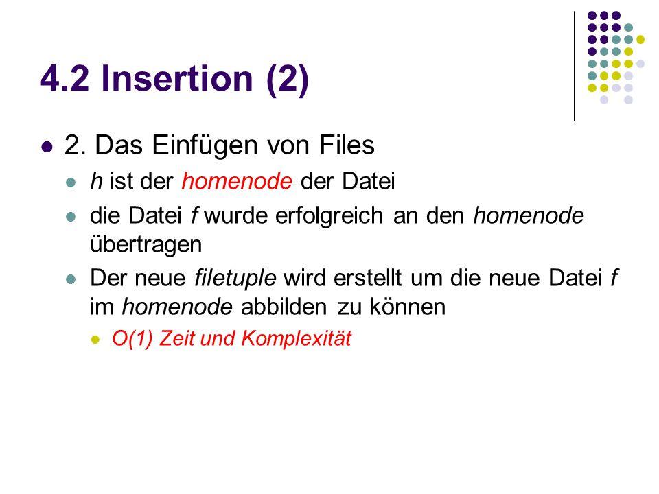 4.2 Insertion (2) 2. Das Einfügen von Files h ist der homenode der Datei die Datei f wurde erfolgreich an den homenode übertragen Der neue filetuple w