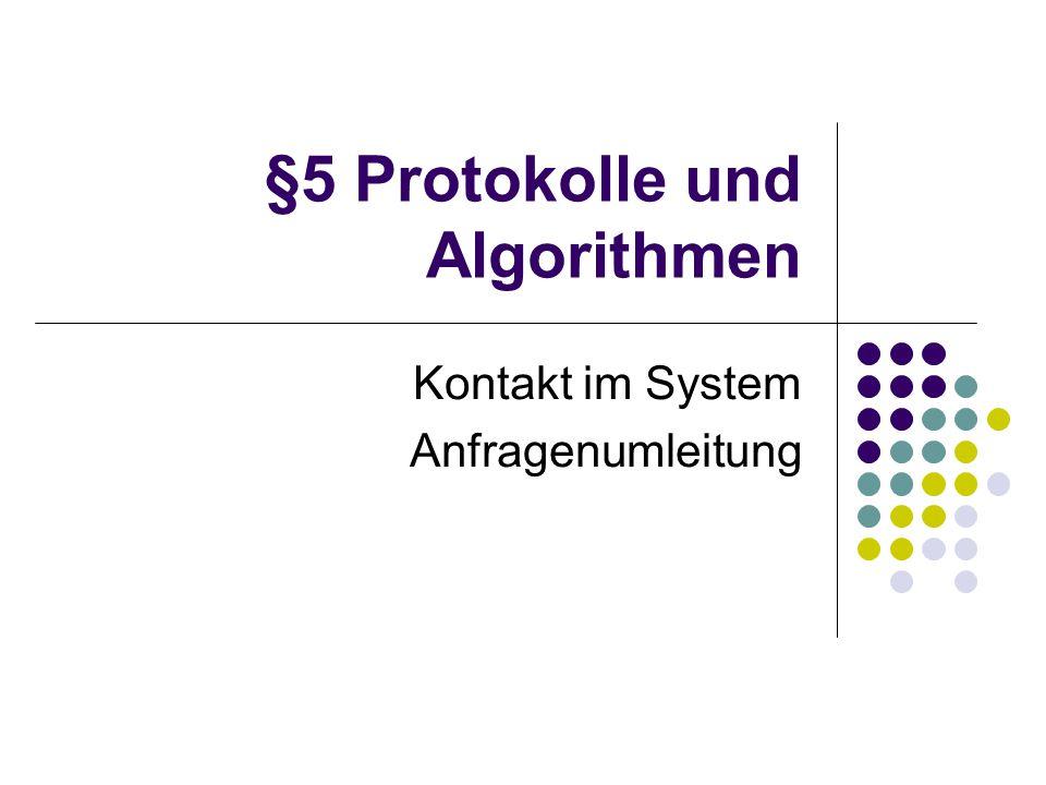 §5 Protokolle und Algorithmen Kontakt im System Anfragenumleitung