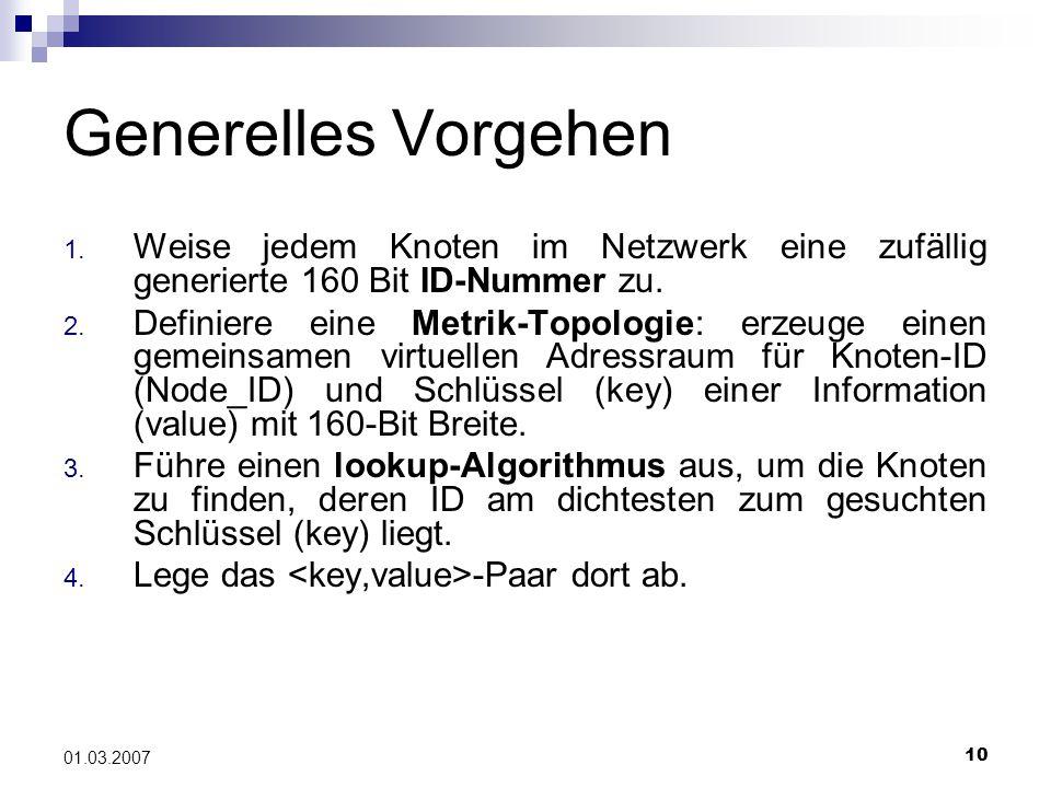 10 01.03.2007 Generelles Vorgehen 1.