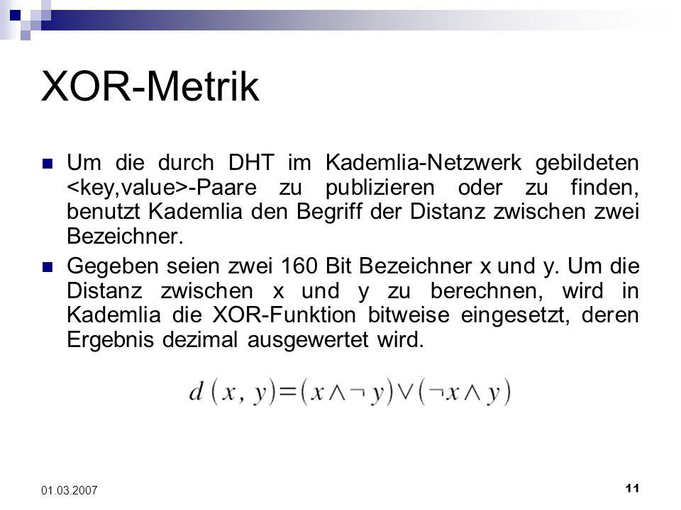 11 01.03.2007 XOR-Metrik Um die durch DHT im Kademlia-Netzwerk gebildeten -Paare zu publizieren oder zu finden, benutzt Kademlia den Begriff der Distanz zwischen zwei Bezeichner.