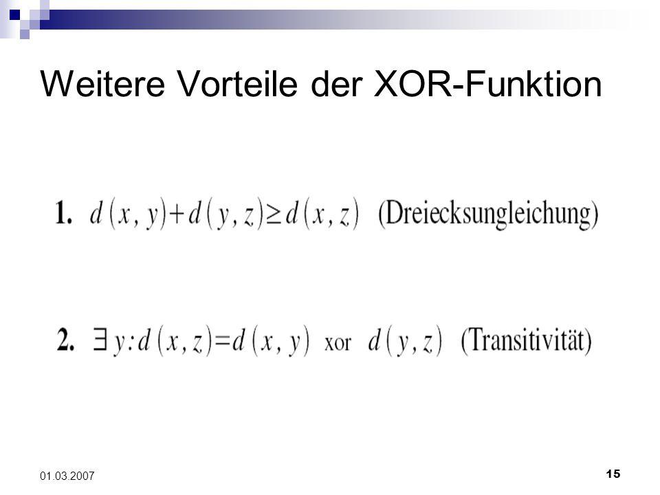 15 01.03.2007 Weitere Vorteile der XOR-Funktion