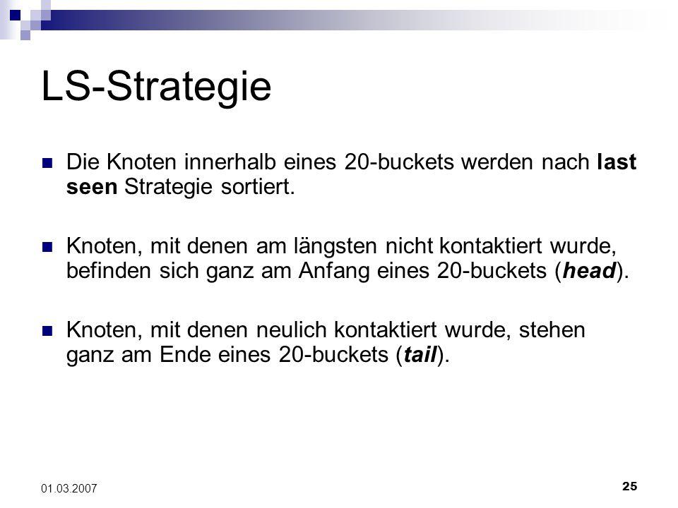 25 01.03.2007 LS-Strategie Die Knoten innerhalb eines 20-buckets werden nach last seen Strategie sortiert.