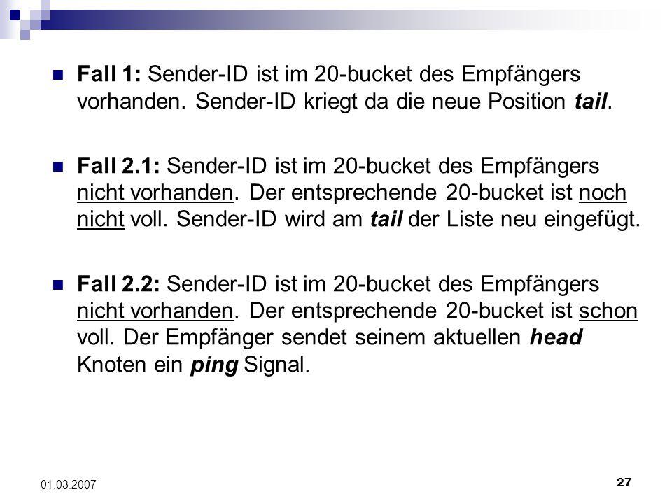 27 01.03.2007 Fall 1: Sender-ID ist im 20-bucket des Empfängers vorhanden.