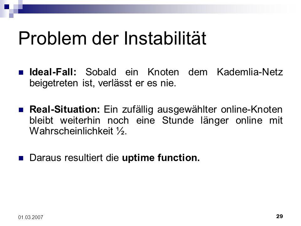 29 01.03.2007 Problem der Instabilität Ideal-Fall: Sobald ein Knoten dem Kademlia-Netz beigetreten ist, verlässt er es nie.