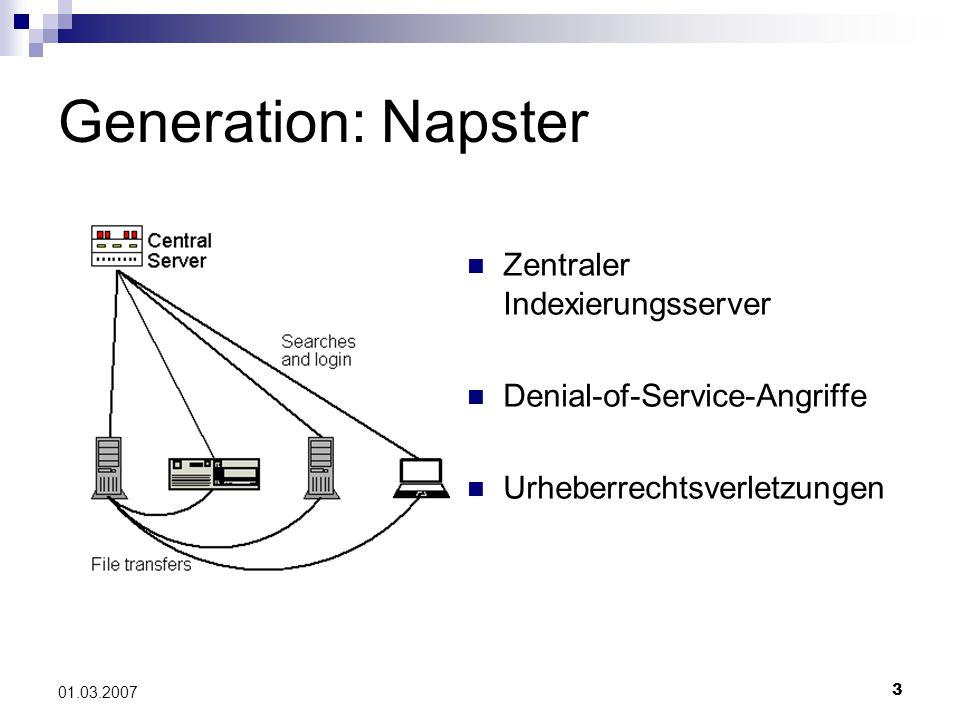 3 01.03.2007 Generation: Napster Zentraler Indexierungsserver Denial-of-Service-Angriffe Urheberrechtsverletzungen