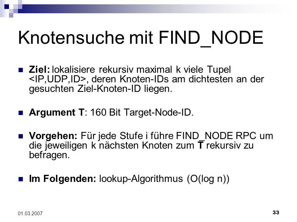 33 01.03.2007 Knotensuche mit FIND_NODE Ziel: lokalisiere rekursiv maximal k viele Tupel, deren Knoten-IDs am dichtesten an der gesuchten Ziel-Knoten-ID liegen.