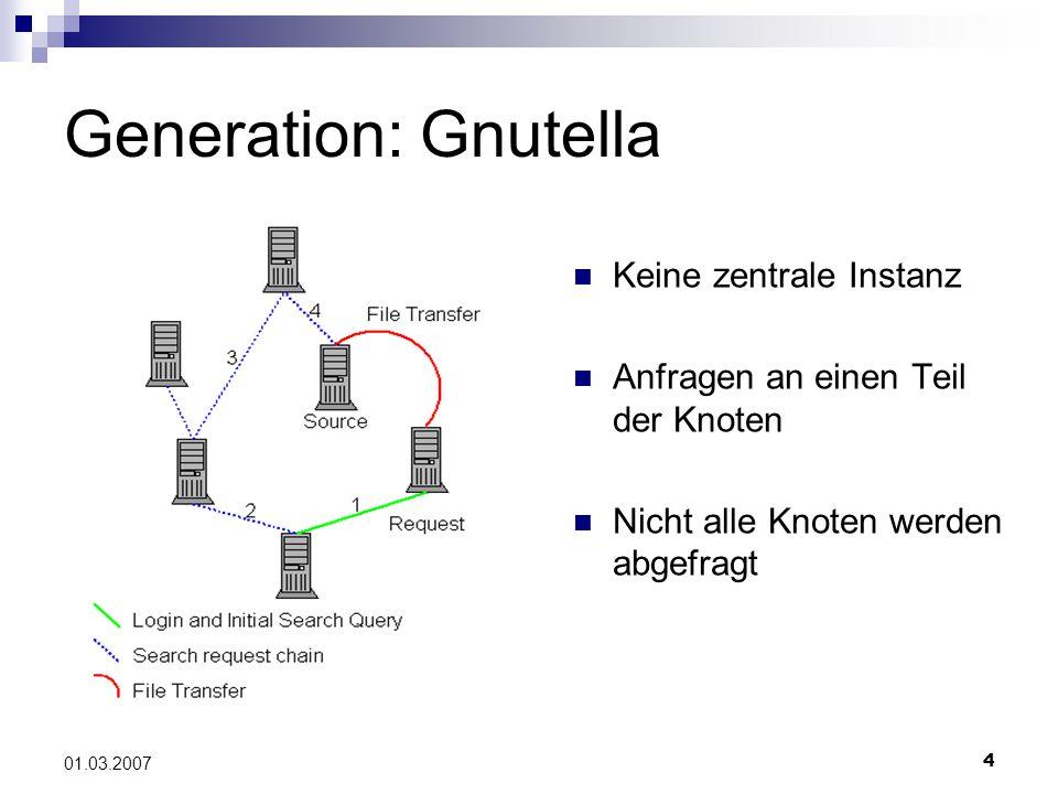 4 01.03.2007 Generation: Gnutella Keine zentrale Instanz Anfragen an einen Teil der Knoten Nicht alle Knoten werden abgefragt