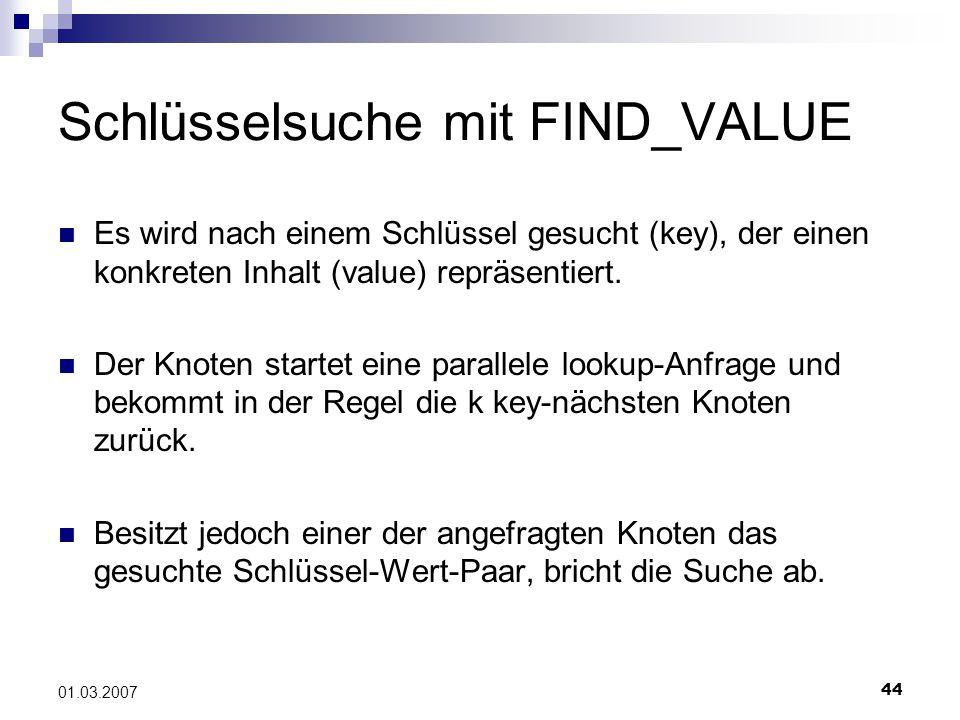 44 01.03.2007 Schlüsselsuche mit FIND_VALUE Es wird nach einem Schlüssel gesucht (key), der einen konkreten Inhalt (value) repräsentiert.