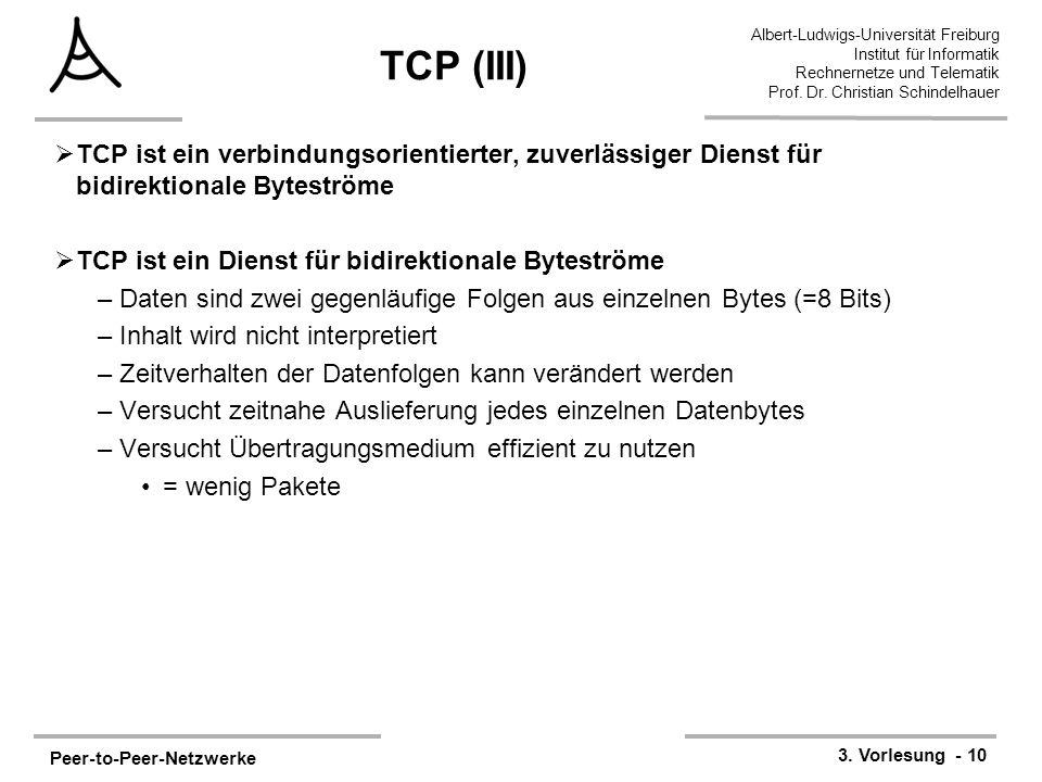Peer-to-Peer-Netzwerke 3. Vorlesung - 10 Albert-Ludwigs-Universität Freiburg Institut für Informatik Rechnernetze und Telematik Prof. Dr. Christian Sc