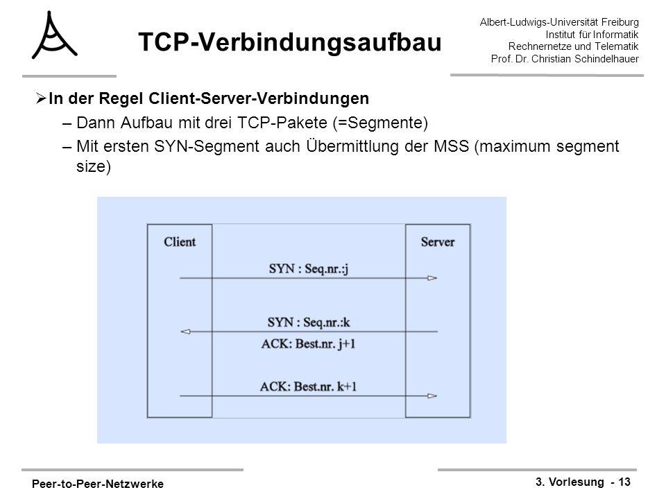 Peer-to-Peer-Netzwerke 3. Vorlesung - 13 Albert-Ludwigs-Universität Freiburg Institut für Informatik Rechnernetze und Telematik Prof. Dr. Christian Sc