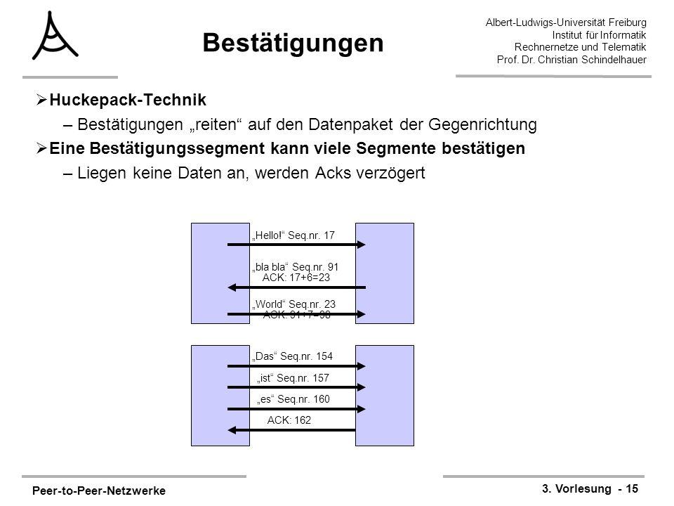 Peer-to-Peer-Netzwerke 3. Vorlesung - 15 Albert-Ludwigs-Universität Freiburg Institut für Informatik Rechnernetze und Telematik Prof. Dr. Christian Sc