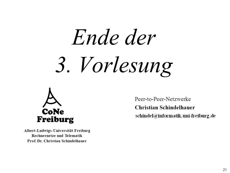 21 Albert-Ludwigs-Universität Freiburg Rechnernetze und Telematik Prof. Dr. Christian Schindelhauer Ende der 3. Vorlesung Peer-to-Peer-Netzwerke Chris