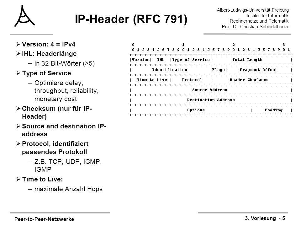 Peer-to-Peer-Netzwerke 3. Vorlesung - 5 Albert-Ludwigs-Universität Freiburg Institut für Informatik Rechnernetze und Telematik Prof. Dr. Christian Sch