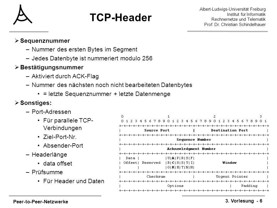 Peer-to-Peer-Netzwerke 3. Vorlesung - 6 Albert-Ludwigs-Universität Freiburg Institut für Informatik Rechnernetze und Telematik Prof. Dr. Christian Sch