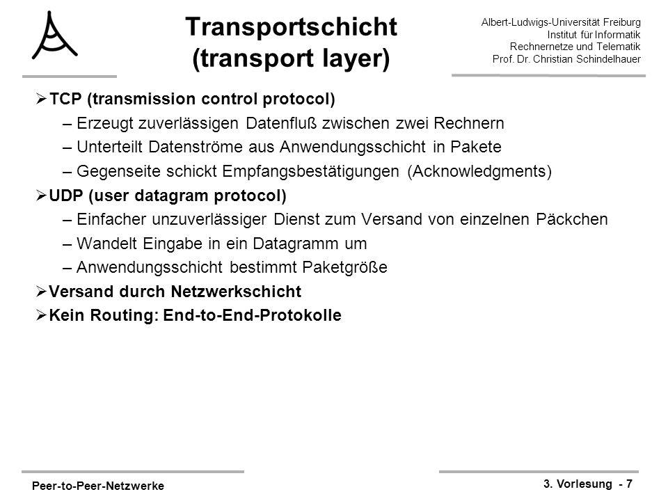 Peer-to-Peer-Netzwerke 3. Vorlesung - 7 Albert-Ludwigs-Universität Freiburg Institut für Informatik Rechnernetze und Telematik Prof. Dr. Christian Sch