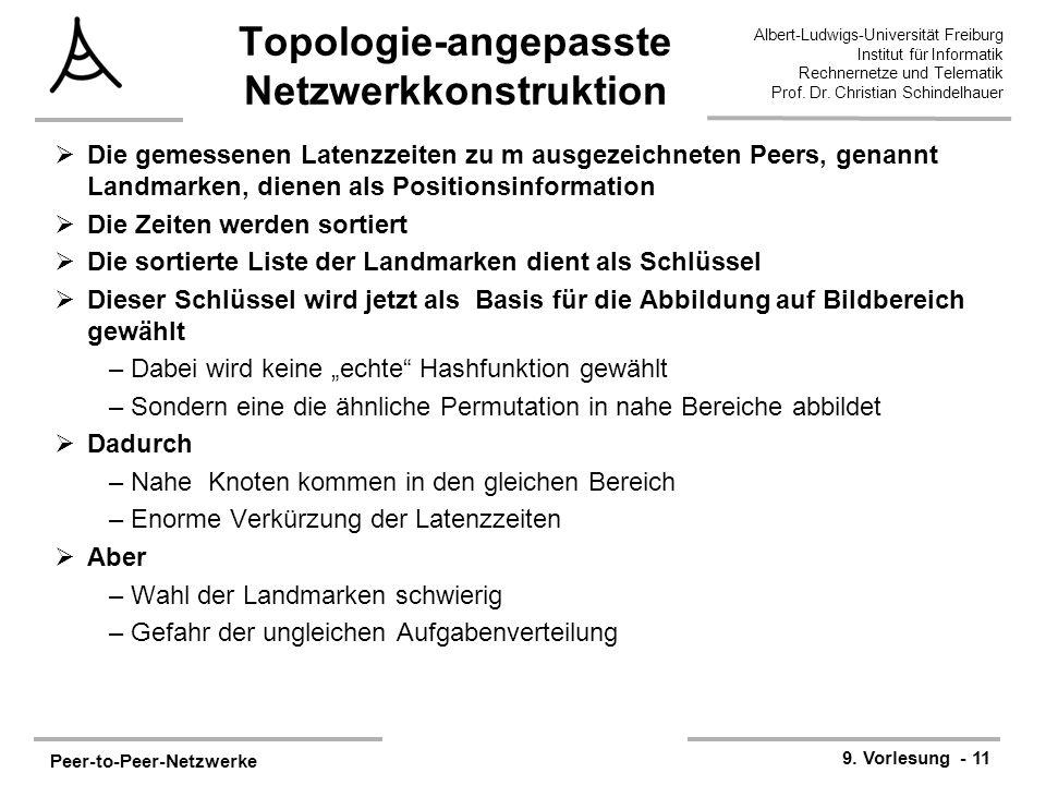 Peer-to-Peer-Netzwerke 9. Vorlesung - 11 Albert-Ludwigs-Universität Freiburg Institut für Informatik Rechnernetze und Telematik Prof. Dr. Christian Sc