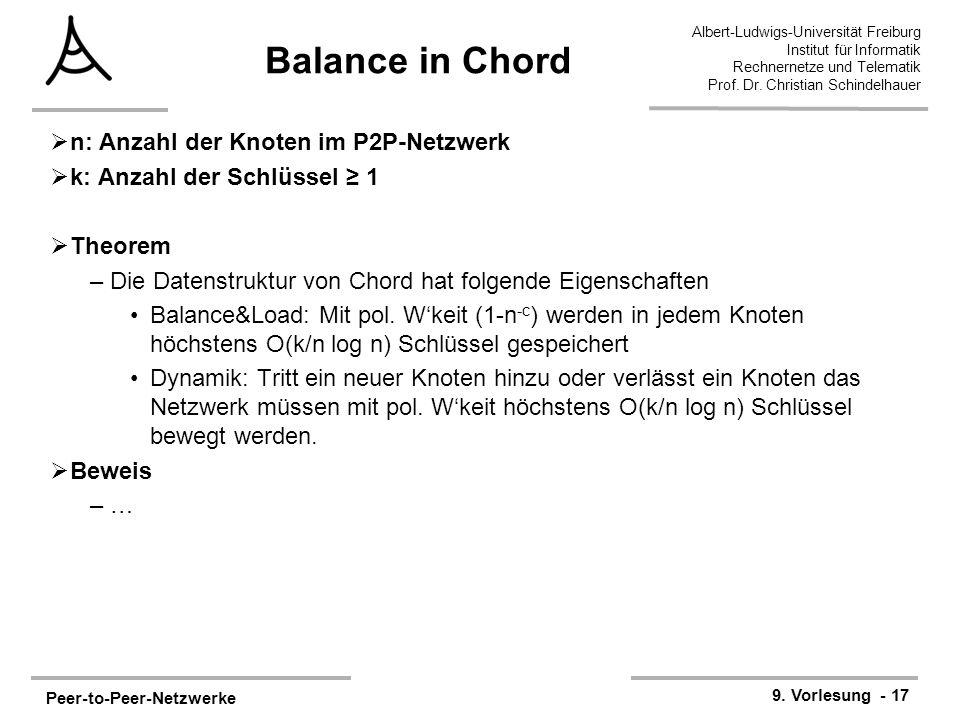 Peer-to-Peer-Netzwerke 9. Vorlesung - 17 Albert-Ludwigs-Universität Freiburg Institut für Informatik Rechnernetze und Telematik Prof. Dr. Christian Sc