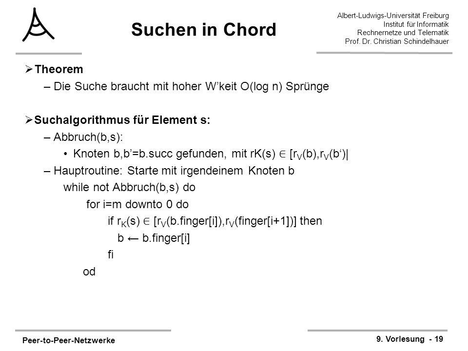 Peer-to-Peer-Netzwerke 9. Vorlesung - 19 Albert-Ludwigs-Universität Freiburg Institut für Informatik Rechnernetze und Telematik Prof. Dr. Christian Sc