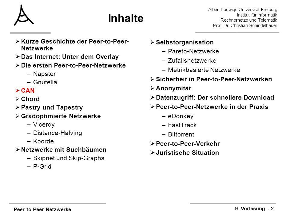 Peer-to-Peer-Netzwerke 9. Vorlesung - 2 Albert-Ludwigs-Universität Freiburg Institut für Informatik Rechnernetze und Telematik Prof. Dr. Christian Sch