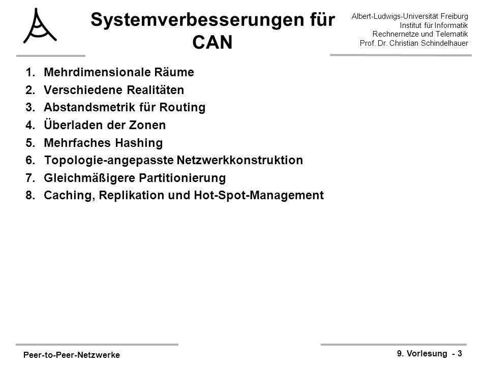 Peer-to-Peer-Netzwerke 9. Vorlesung - 3 Albert-Ludwigs-Universität Freiburg Institut für Informatik Rechnernetze und Telematik Prof. Dr. Christian Sch