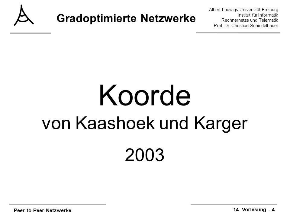 Peer-to-Peer-Netzwerke 14. Vorlesung - 4 Albert-Ludwigs-Universität Freiburg Institut für Informatik Rechnernetze und Telematik Prof. Dr. Christian Sc