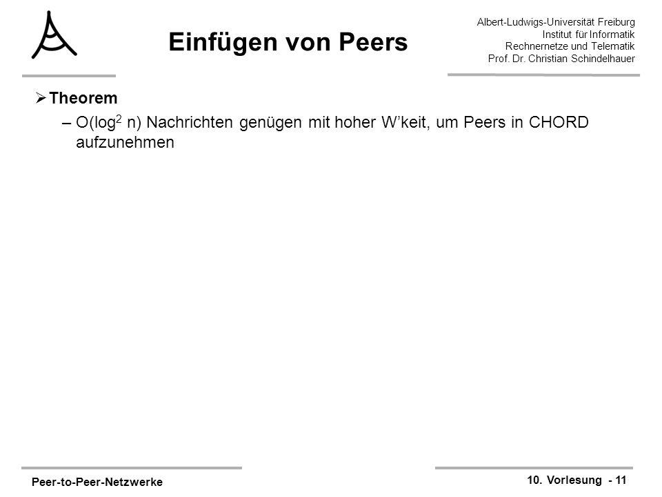 Peer-to-Peer-Netzwerke 10. Vorlesung - 11 Albert-Ludwigs-Universität Freiburg Institut für Informatik Rechnernetze und Telematik Prof. Dr. Christian S
