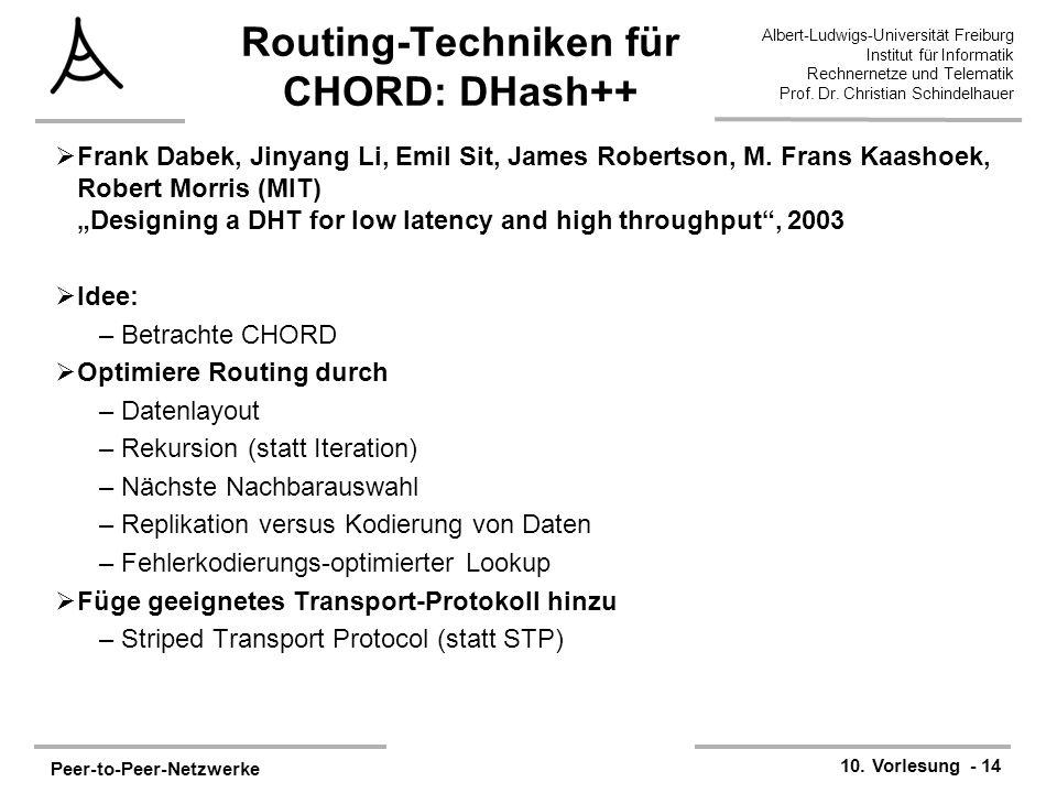 Peer-to-Peer-Netzwerke 10. Vorlesung - 14 Albert-Ludwigs-Universität Freiburg Institut für Informatik Rechnernetze und Telematik Prof. Dr. Christian S