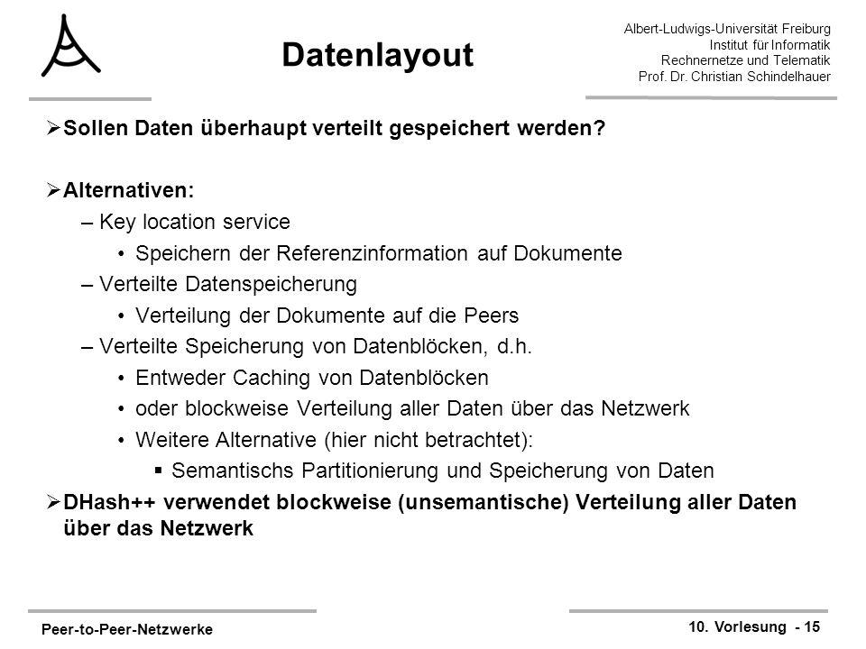 Peer-to-Peer-Netzwerke 10. Vorlesung - 15 Albert-Ludwigs-Universität Freiburg Institut für Informatik Rechnernetze und Telematik Prof. Dr. Christian S