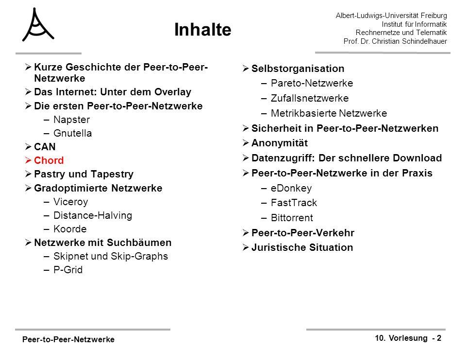 Peer-to-Peer-Netzwerke 10. Vorlesung - 2 Albert-Ludwigs-Universität Freiburg Institut für Informatik Rechnernetze und Telematik Prof. Dr. Christian Sc