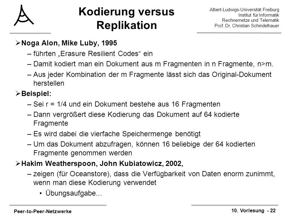 Peer-to-Peer-Netzwerke 10. Vorlesung - 22 Albert-Ludwigs-Universität Freiburg Institut für Informatik Rechnernetze und Telematik Prof. Dr. Christian S