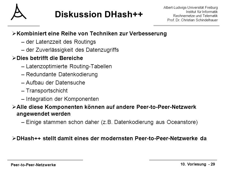 Peer-to-Peer-Netzwerke 10. Vorlesung - 29 Albert-Ludwigs-Universität Freiburg Institut für Informatik Rechnernetze und Telematik Prof. Dr. Christian S