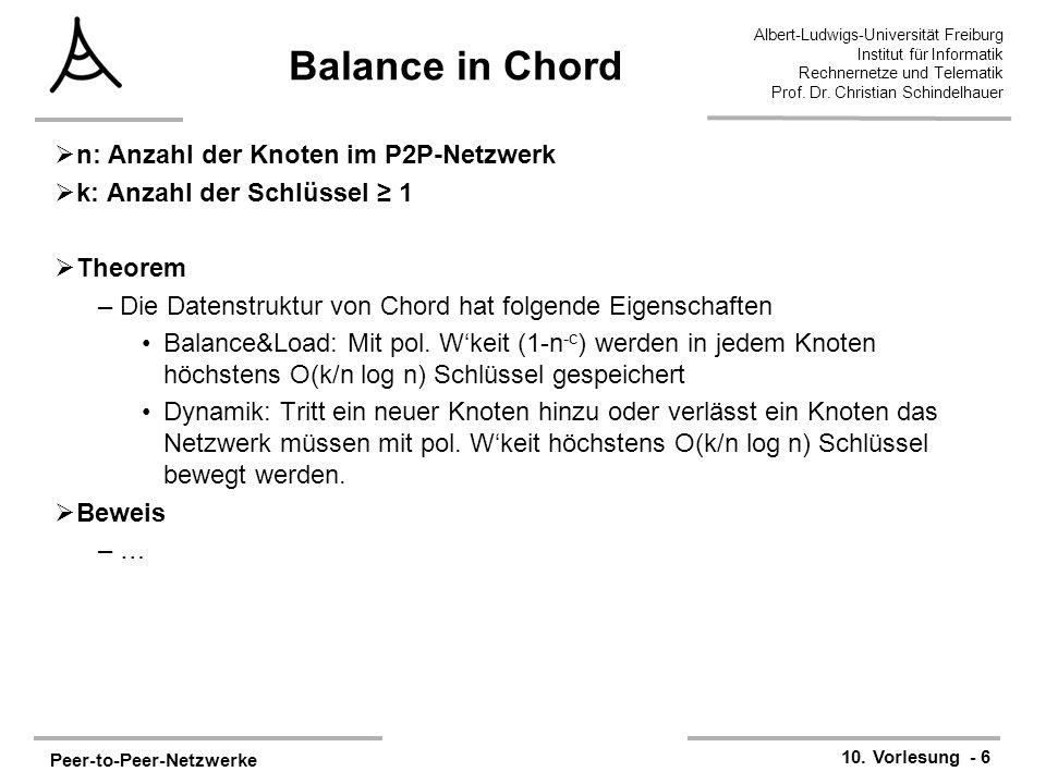 Peer-to-Peer-Netzwerke 10. Vorlesung - 6 Albert-Ludwigs-Universität Freiburg Institut für Informatik Rechnernetze und Telematik Prof. Dr. Christian Sc