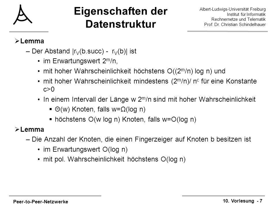 Peer-to-Peer-Netzwerke 10. Vorlesung - 7 Albert-Ludwigs-Universität Freiburg Institut für Informatik Rechnernetze und Telematik Prof. Dr. Christian Sc