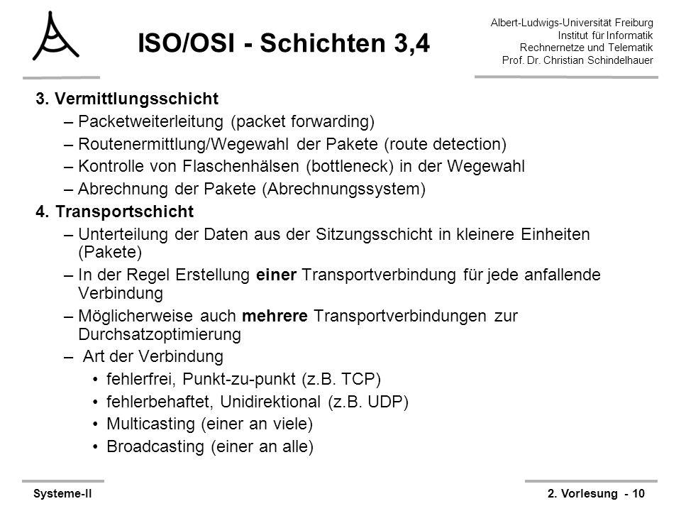 Albert-Ludwigs-Universität Freiburg Institut für Informatik Rechnernetze und Telematik Prof. Dr. Christian Schindelhauer Systeme-II2. Vorlesung - 10 I