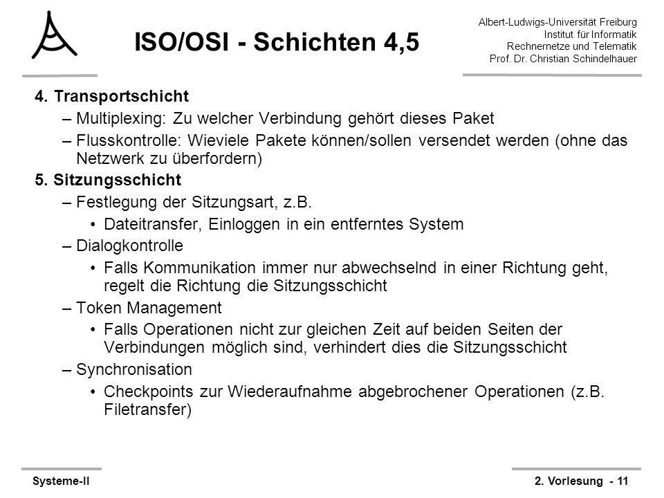 Albert-Ludwigs-Universität Freiburg Institut für Informatik Rechnernetze und Telematik Prof. Dr. Christian Schindelhauer Systeme-II2. Vorlesung - 11 I
