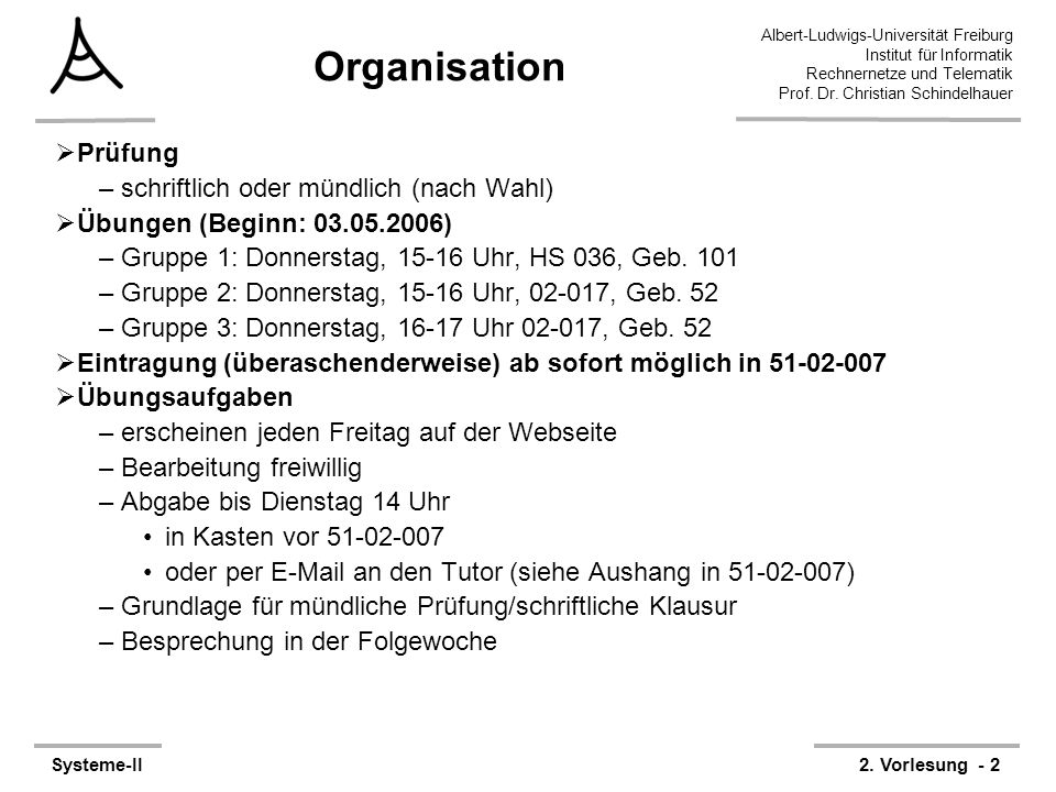 Albert-Ludwigs-Universität Freiburg Institut für Informatik Rechnernetze und Telematik Prof. Dr. Christian Schindelhauer Systeme-II2. Vorlesung - 2 Or