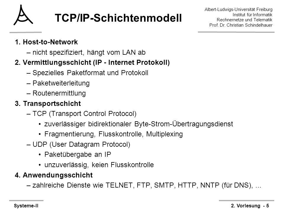 Albert-Ludwigs-Universität Freiburg Institut für Informatik Rechnernetze und Telematik Prof. Dr. Christian Schindelhauer Systeme-II2. Vorlesung - 5 TC