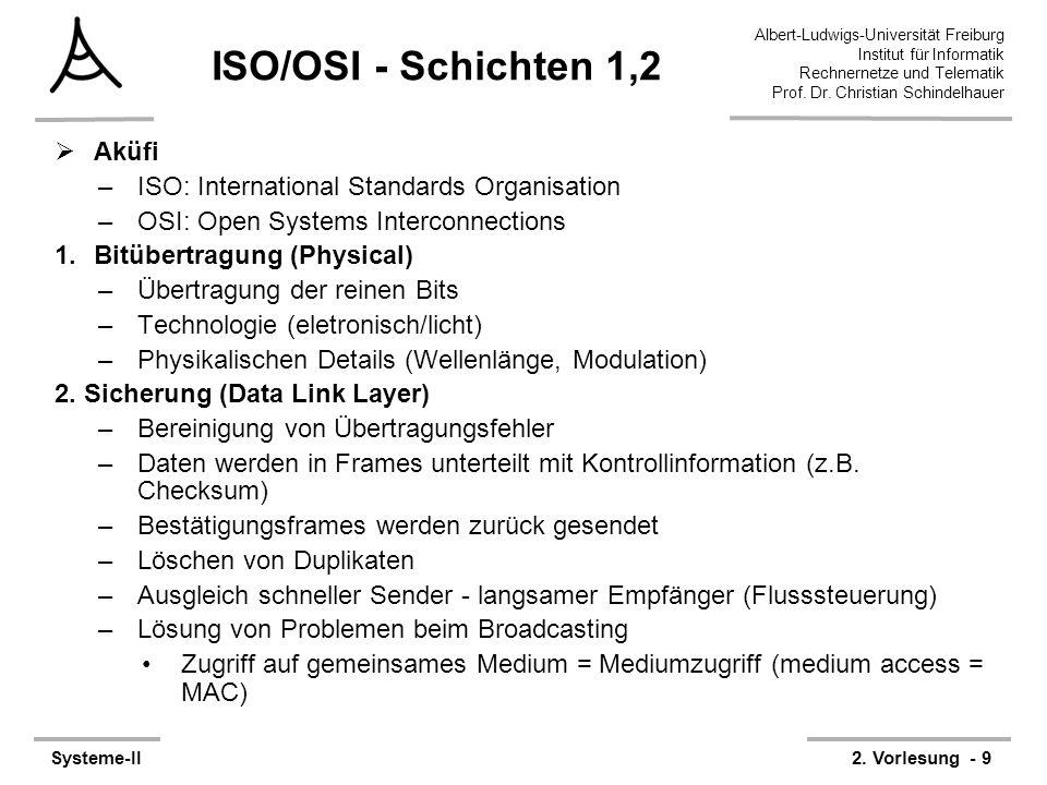 Albert-Ludwigs-Universität Freiburg Institut für Informatik Rechnernetze und Telematik Prof. Dr. Christian Schindelhauer Systeme-II2. Vorlesung - 9 IS