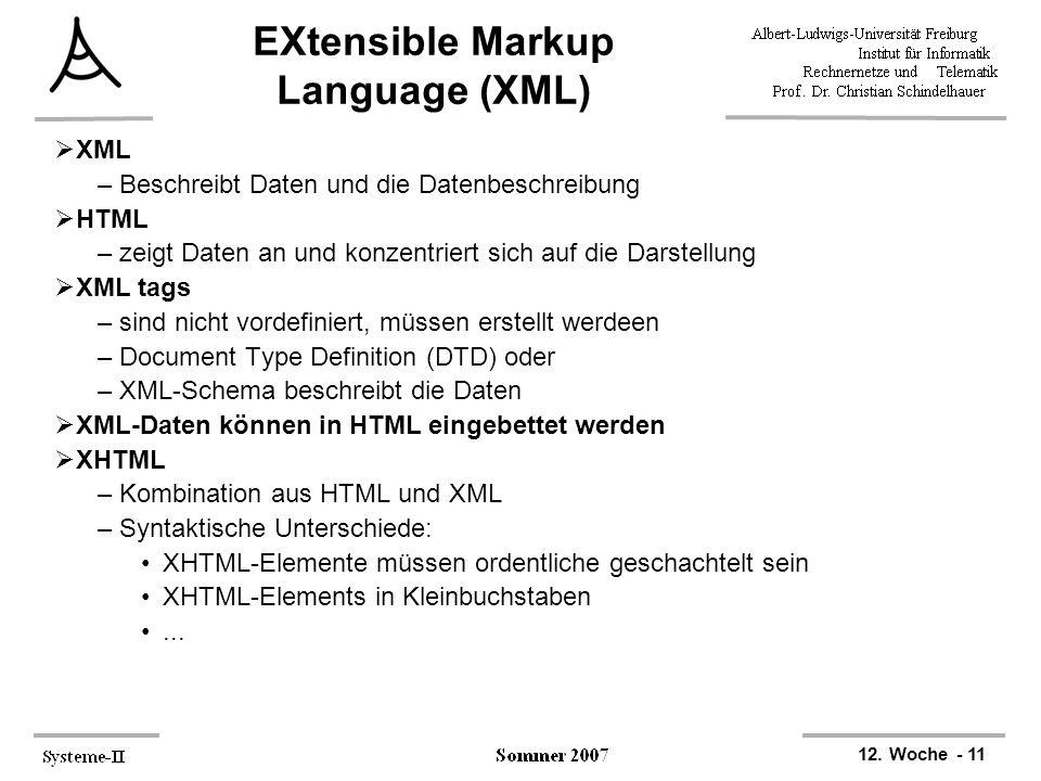 12. Woche - 11 EXtensible Markup Language (XML)  XML –Beschreibt Daten und die Datenbeschreibung  HTML –zeigt Daten an und konzentriert sich auf die