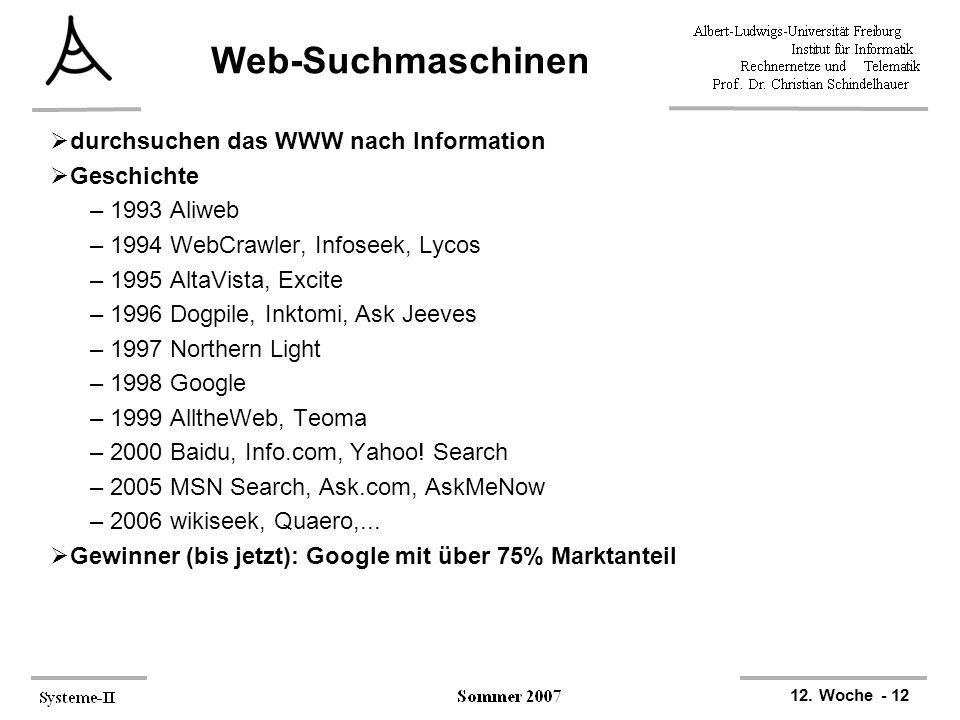 12. Woche - 12 Web-Suchmaschinen  durchsuchen das WWW nach Information  Geschichte –1993 Aliweb –1994 WebCrawler, Infoseek, Lycos –1995 AltaVista, E